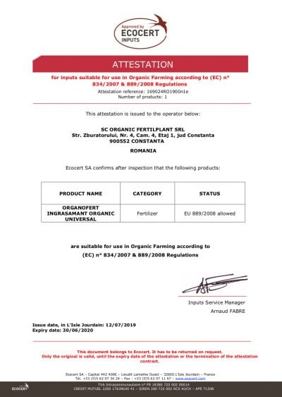certificare ingrasamant organic